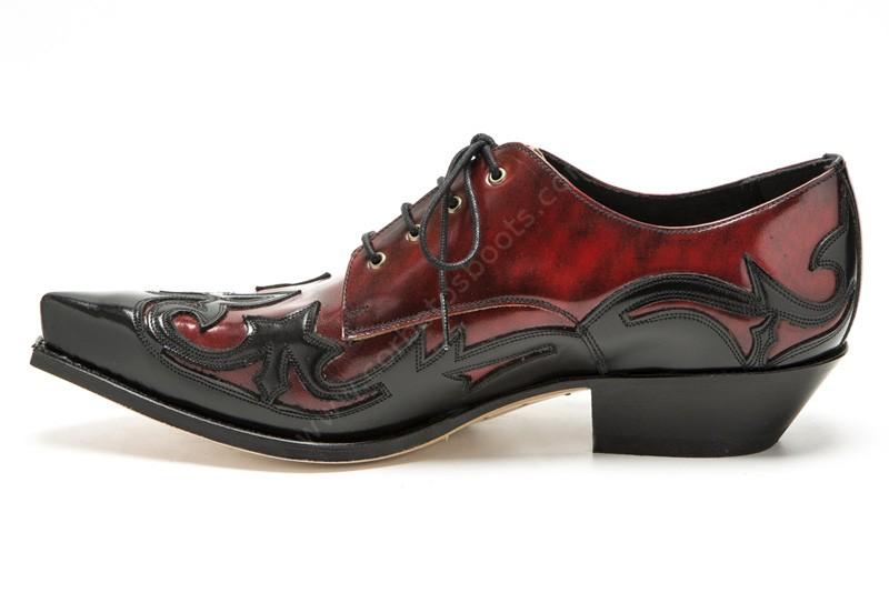 Florentic Rojo hombre Florentic para Corbeto's rockabilly Cuervo cuero Sendra Boots estilo rojo Dirty y negro Negro Zapatos 10066 xqntPx