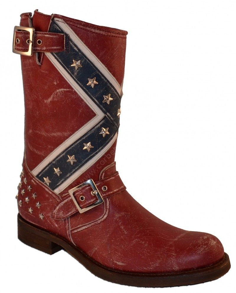 Boots 10669 Carol Raspado Rojo Sendra Boots mens Confederate flag hqtqEk09
