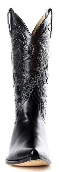 Sendra mens shiny black leather cowboy