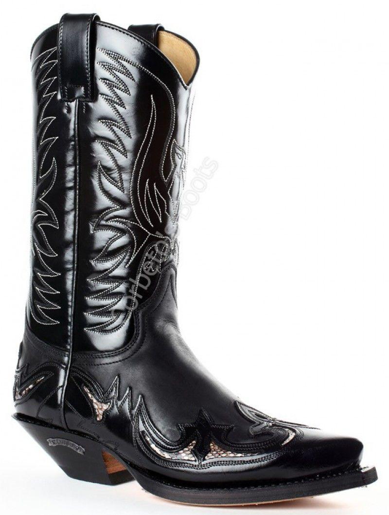 Sendra unisex combined black leathers cowboy boots 5c6518b6b4c