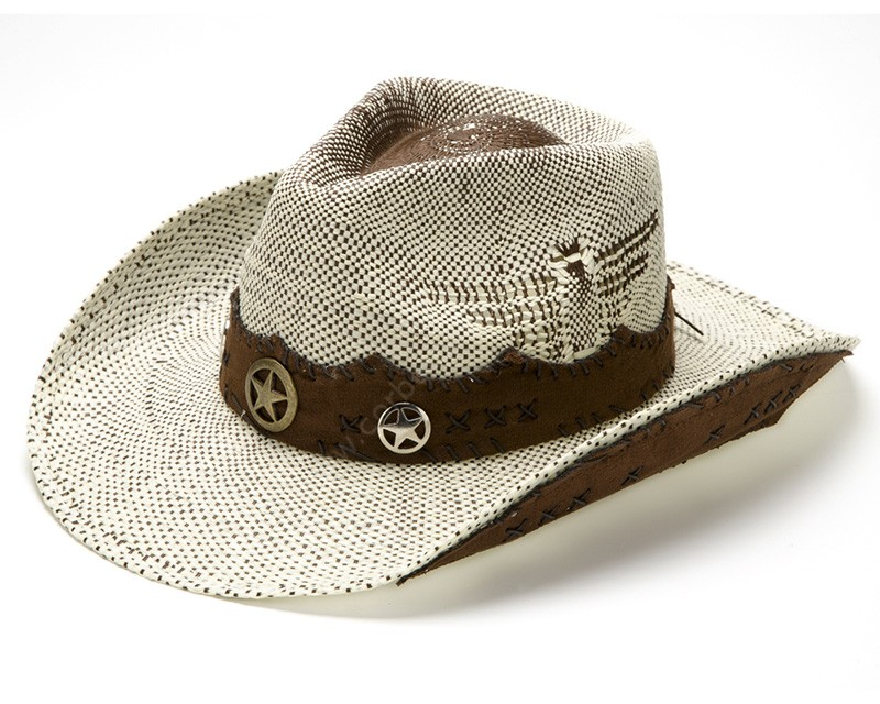 White and dark brown cowboy straw hat with lonestar leather band 8121fa599ef6