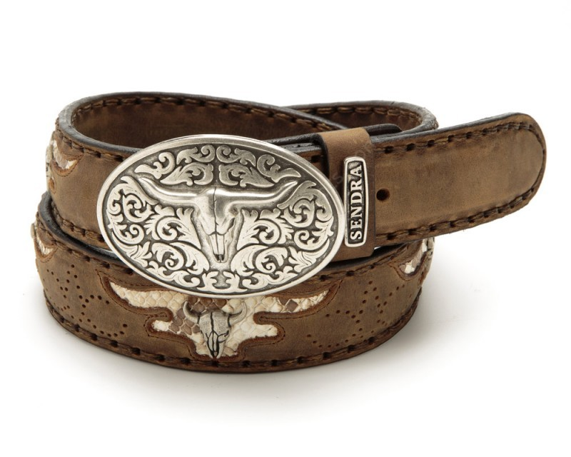 7d5a855e161 Sendra Boots greased light brown leather cowboy belt with longhorn buckle