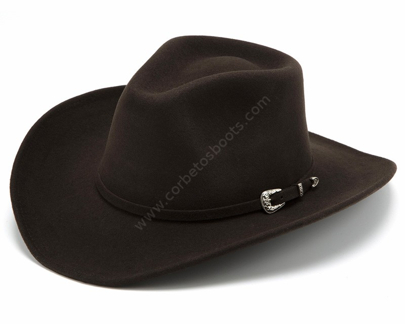 8736b9525322c Crushable brown wool felt cowboy hat with buckle matching band