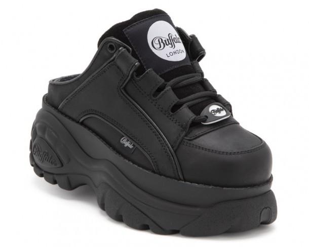 1329 14 Nubuck Negro | Zapatos de plataforma abiertos