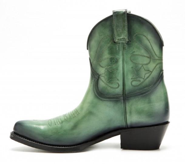 685093e16d5 2374 Crust Verde | Low calf women green leather Mayura cowboy boots ...
