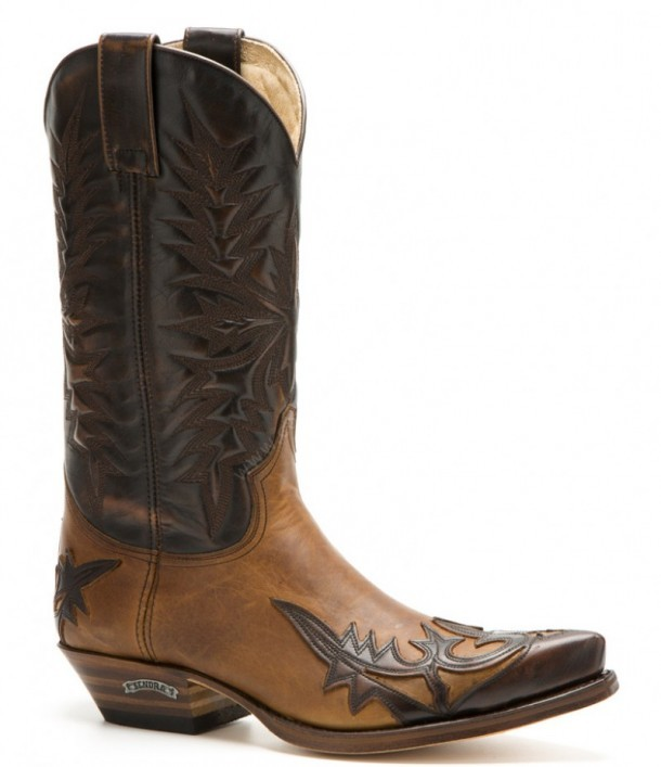 Mens Work Rodeo Leather Cowboy Western Biker Boots Light Brown