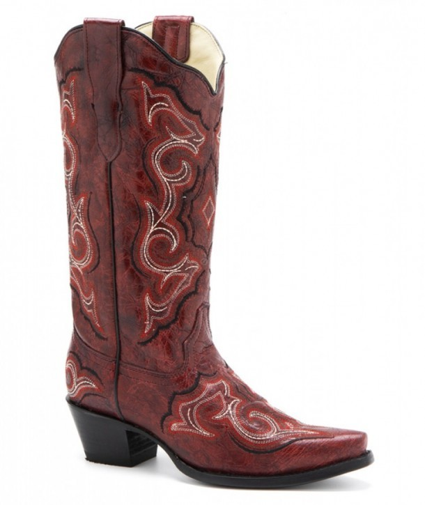 f35110a3d7a E-1006 Red Black Embroidery | Corral Boots vintage dark red leather ...