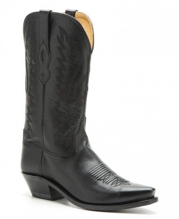 Womens Old West black leather cowboy