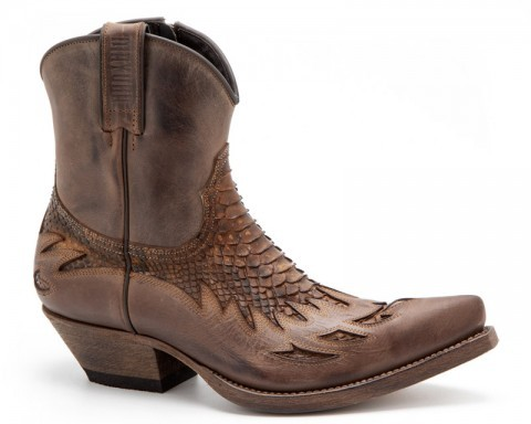 Mens Mayura mid leg distressed brown leather and snake skin western boots