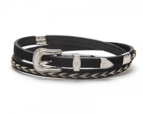 Black leather hat band with horse hair