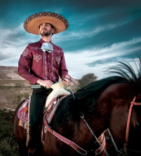 Classic wine colour Mexican charro shirt for men