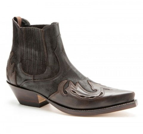 Mens Mayura Boots brown leather combined cowboy ankle boots