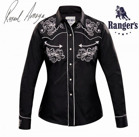 Line dance Rafael Amaya women black shirt with double white stitching