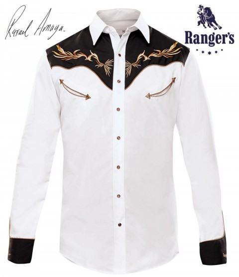 Rafael Amaya mens white & black Mexican cowboy shirt