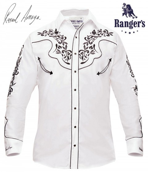 Mens Rafael Amaya cowboy white shirt with black flower stitching