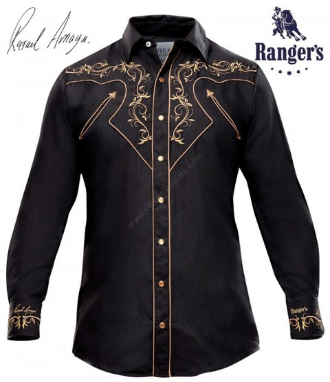 Mens Rafael Amaya Mexican western black shirt with floral embroidery in cuffs