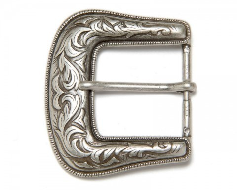 40 mm width vintage look engraved frame belt buckle