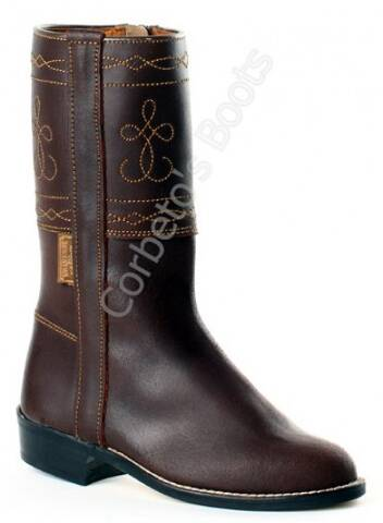 Valverde del Camino children brown leather camperos