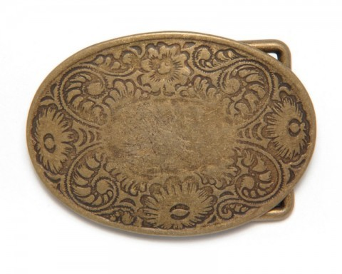 Small size dark golden metal oval cowboy belt buckle with floral scroll engraving