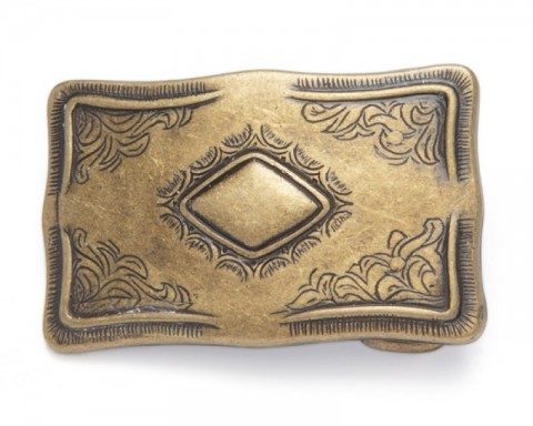 Antique gold look cowboy rectangular belt buckle with central diamond