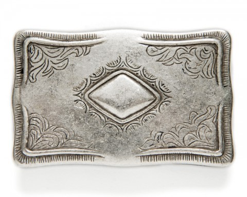 Antique look rectangular western belt buckle