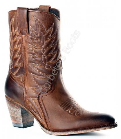Senda ladies high heel brown leather cowboy boots