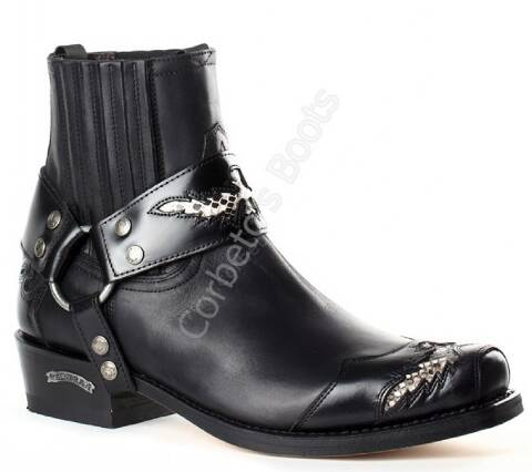 Sendra Boots mens biker black ankle boots with matching leather strap