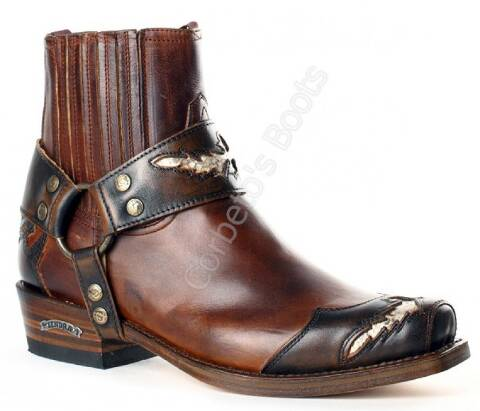 Sendra mens square toe brown ankle biker boots