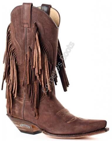 Sendra ladies brown cowboy boots with fringes