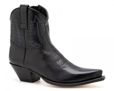 Women western fashion black leather fine toe Sendra ankle boots