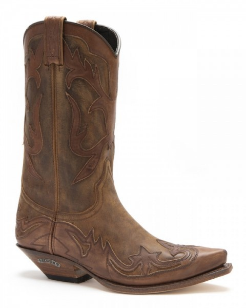 Sendra snip toe double layered brown leather ladies boots