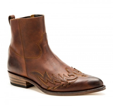 Mens Sendra Boots dark brown greased leather ankle boots with zipper