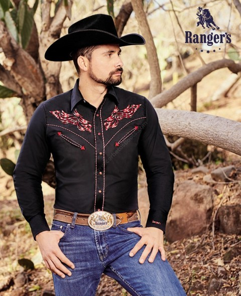 Tribal eagle embroidered black mens western Ranger