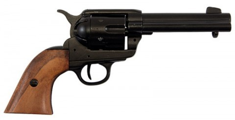 Colt Peacemaker 45 caliber handgun with black cannon