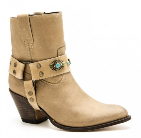 12223 Laly Floter Beig | Buy at our online shop these ladies low leg high heel beige leather Sendra fashion cowboy boots with turquoise boot straps.