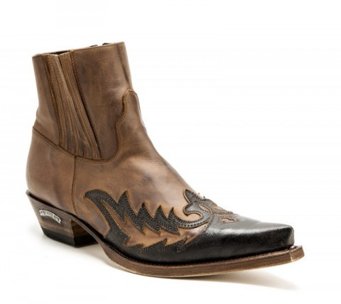 Mens greased & distressed leather Sendra ankle boots with zipper and elastic side