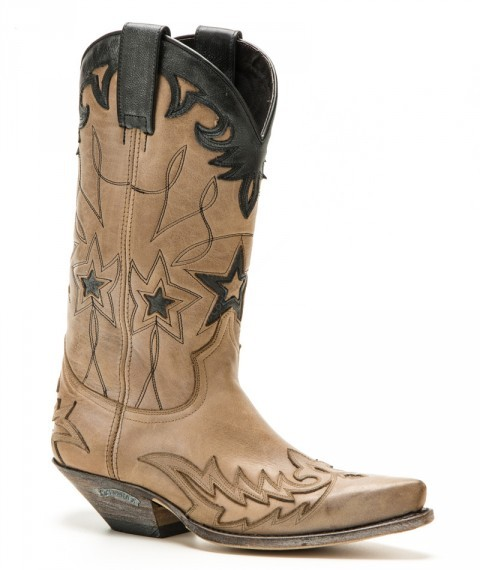 Women Sendra Boots distressed beige and black cow leather cowboy boots