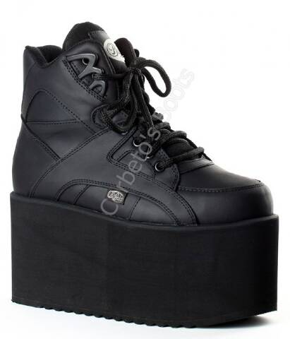 1300-10 Nubuck Black | Buffalo London black 10 cms. high platform boots