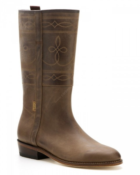 Unisex Valverde del Camino distressed brown leather camperos boots