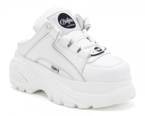White leather Buffalo London girls platform fashion half shoe