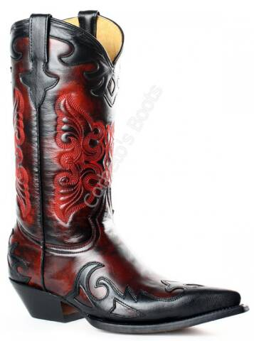 Go West ladies combined black and red cowboy boots