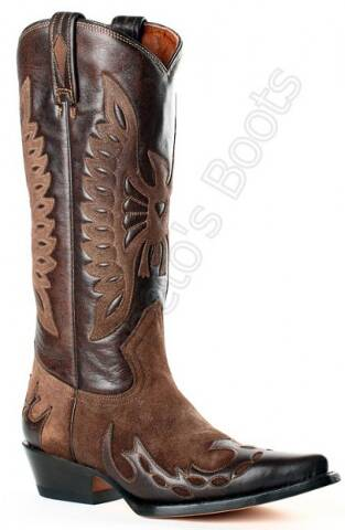 Buffalo Boots ladies combined brown cow leather high leg cowboy boots