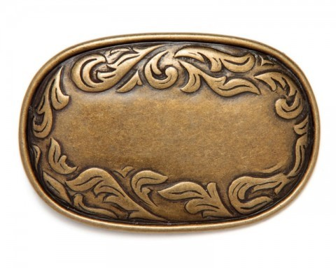 Oblong classic cowboy matt golden belt buckle with engraving in relief