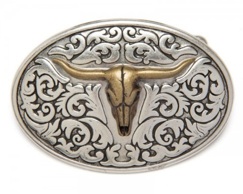 Country style oval belt buckle with antique golden longhorn skull