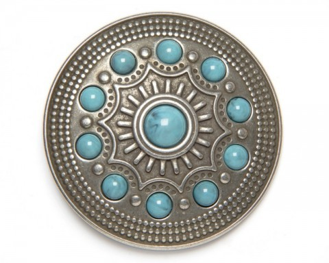 Antique silver metal Native American mosaic rounded buckle with turquoise spheres