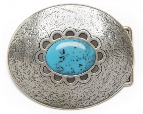 Distressed relief oval belt buckle with central turquoise enamel