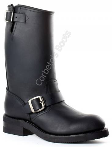 Mayura unisex black leather engineer boots