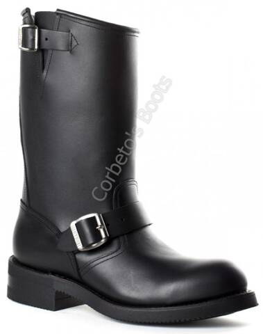Mayura black leather steel toe engineer boots