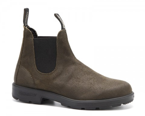 Water repellent Blundstone dark olive waxed suede pull-on boots