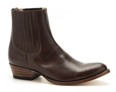 Mens rounded toe brown leather classic chelsea Sendra ankle boots